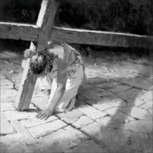 3-Jesus-Falls-Under-Cross-Alone